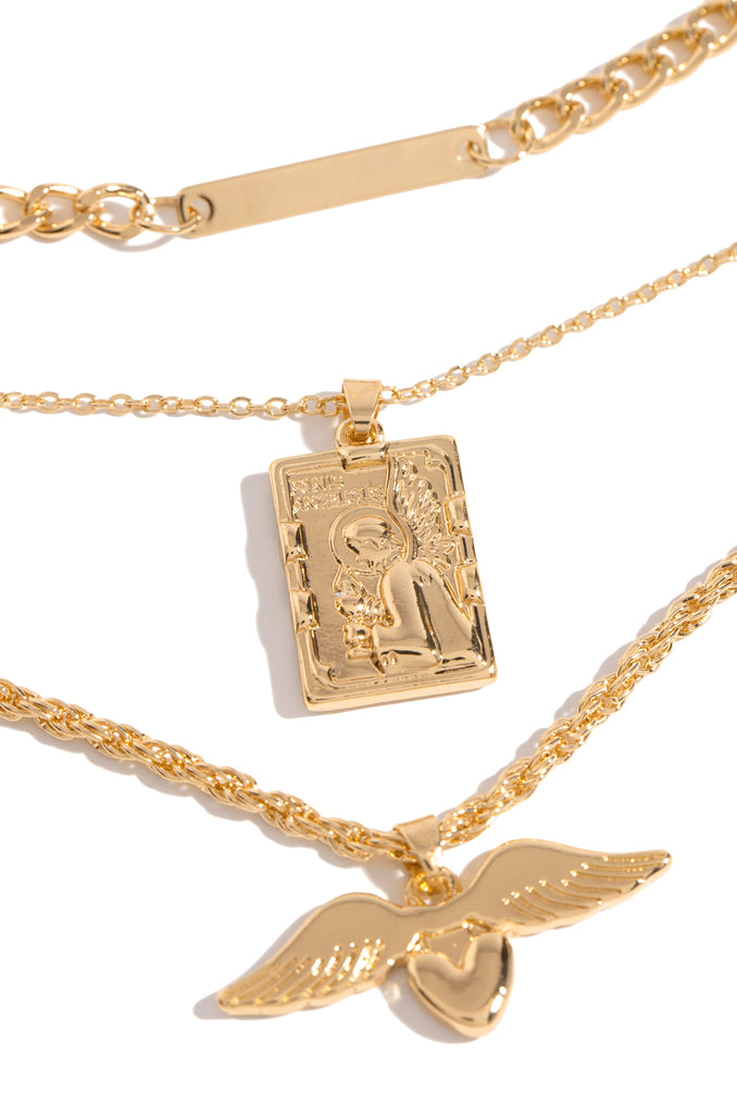 Angel Energy Necklace Set - Gold