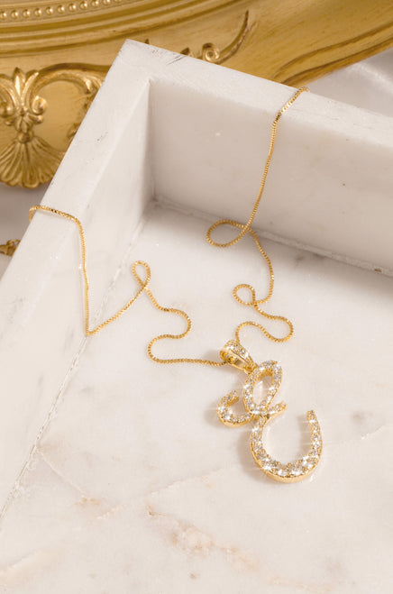 E Necklace - Gold