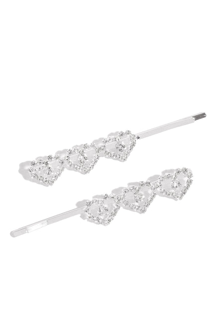 My Heart Hair Clips - Silver