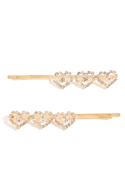 My Heart Hair Clips - Gold