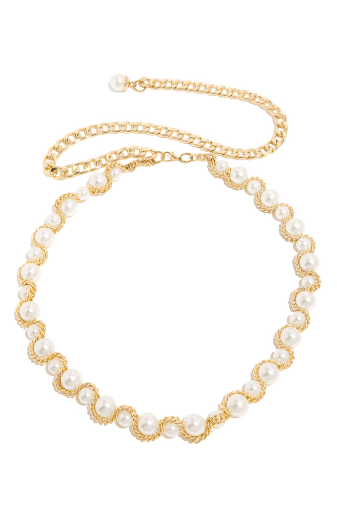 Pretty In Pearls Chain Belt - Gold