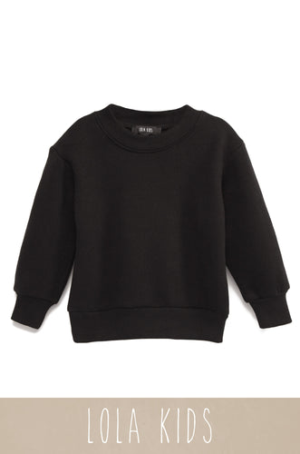 Mini Cozy Feels Crewneck - Black