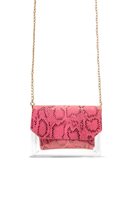 In The Clear Crossbody - Neon Pink Snake