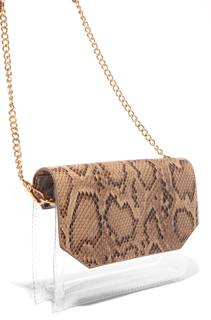 In The Clear Crossbody - Nude Snake