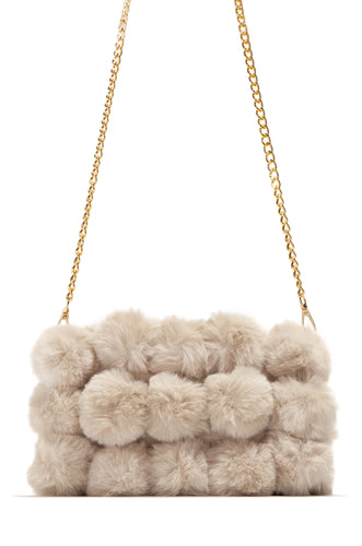 Crazy Fur You Clutch Bag - Nude