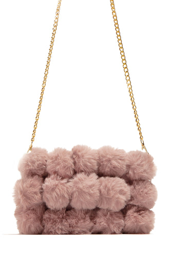 Crazy Fur You Clutch Bag - Mauve