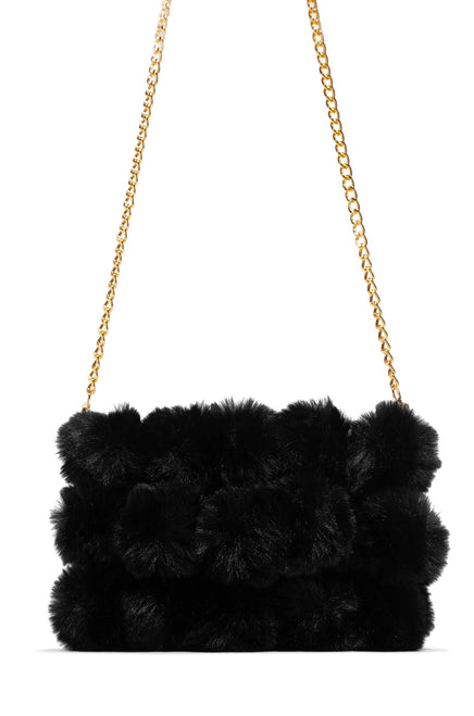 Crazy Fur You Clutch Bag - Black