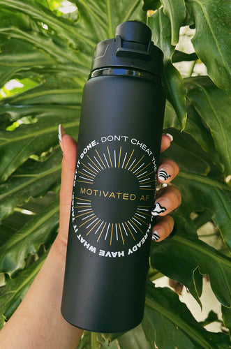 Motivated AF Water Bottle - Black/Gold
