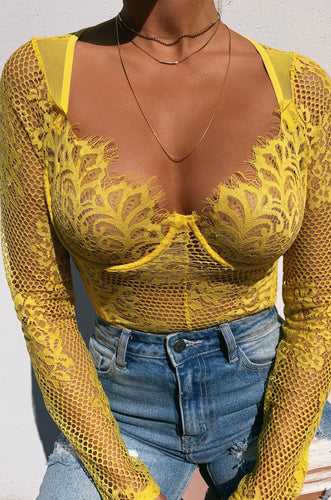 Take It Off Bodysuit - Yellow
