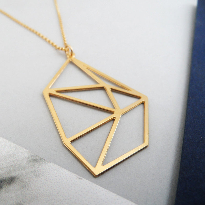 geometric diamond necklace by pieceofka