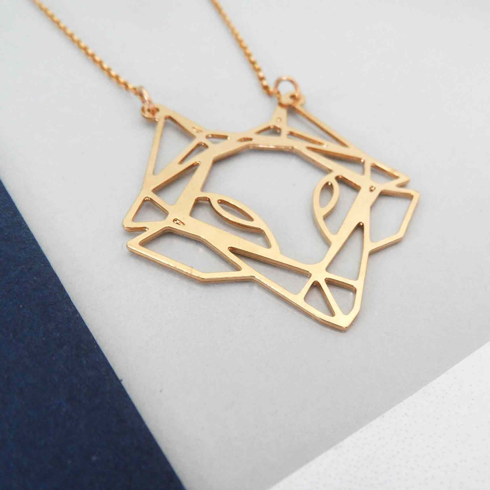 geometric fox head necklace by pieceofka
