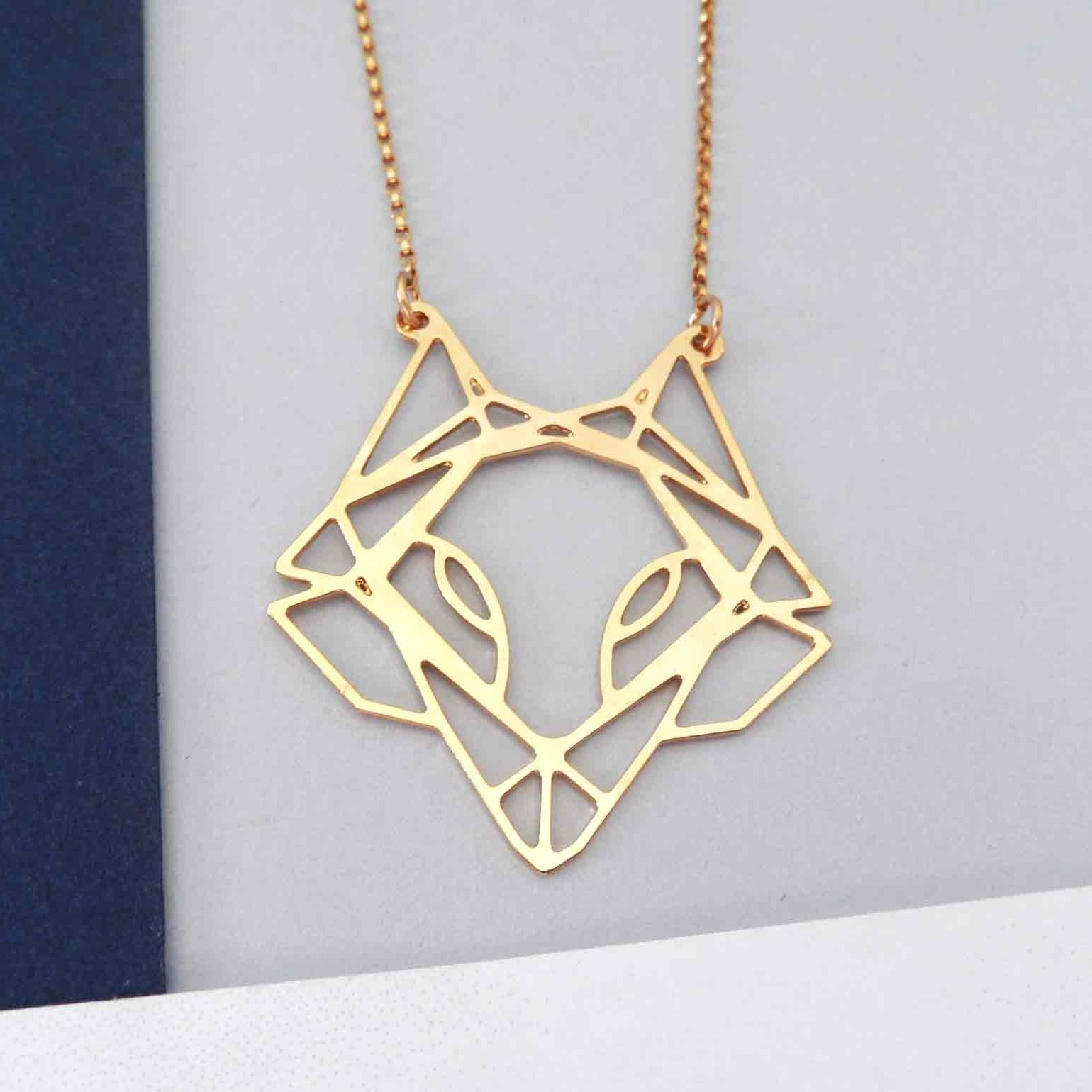 Geometric Fox Head Necklace