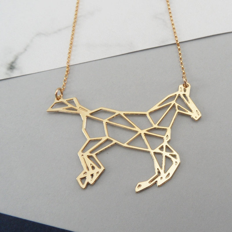 geometric horse necklace by pieceofka