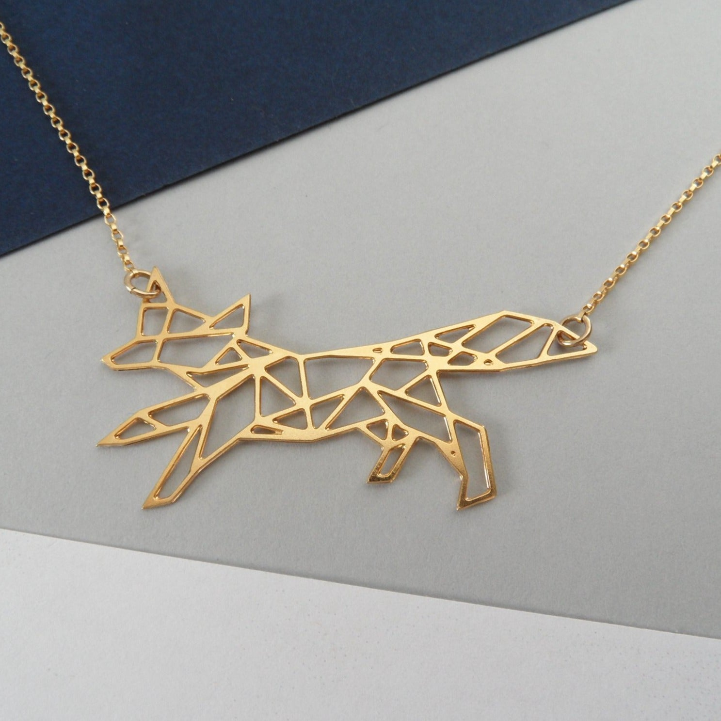geometric fox necklace by pieceofka