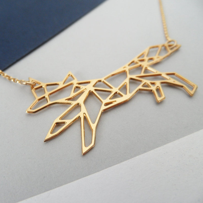 Geometric Running Fox Necklace