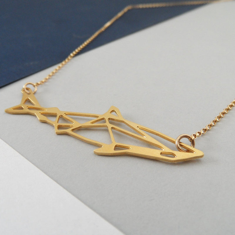 geometric shark necklace by pieceofka
