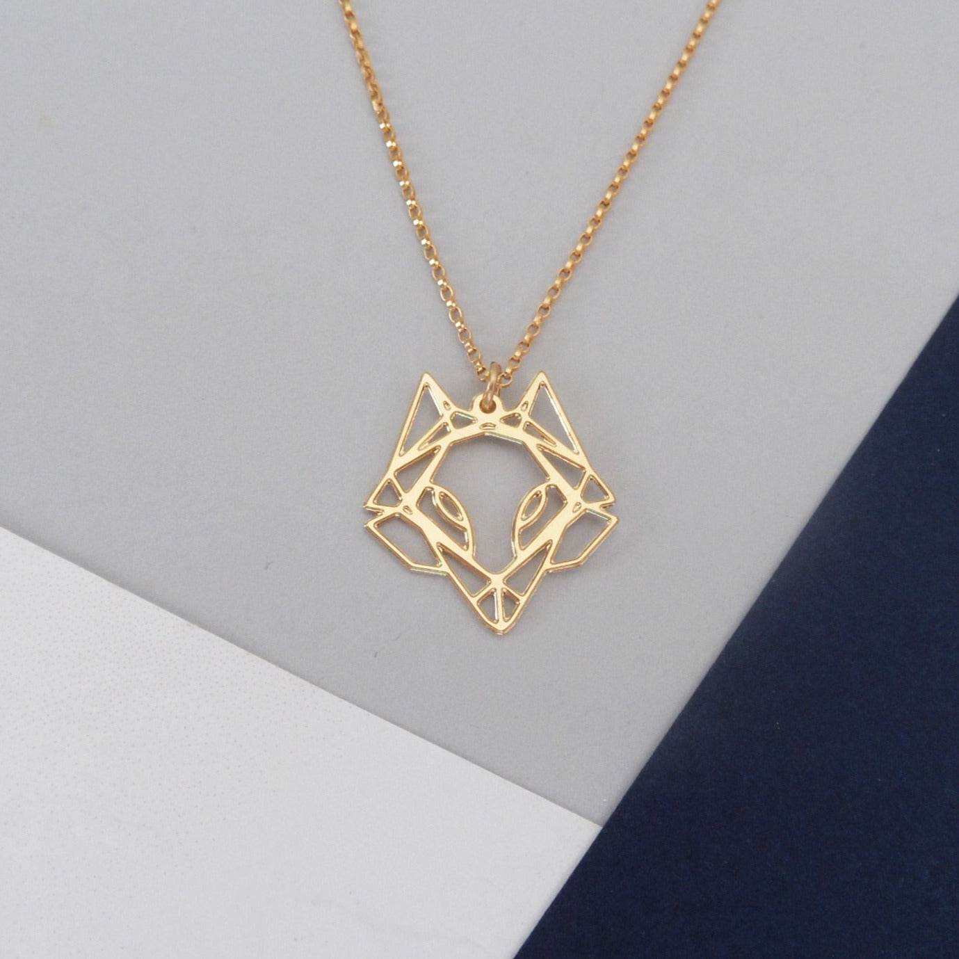 Mini Geometric Fox Head Necklace