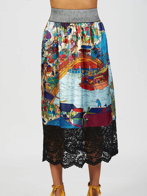 Asian Print Satin and Lace Skirt