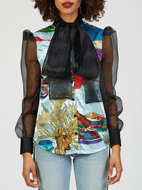 Asian Print Satin Blouse