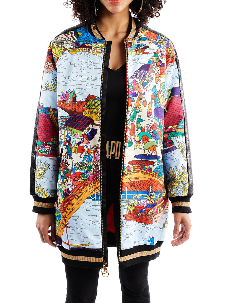 Long Asian Print Bomber Jacket