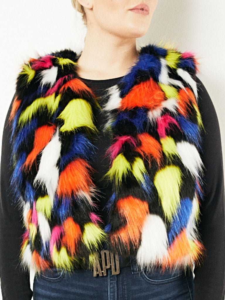 Multicolor Faux Fur Vest
