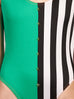 Green and Striped Studded Swimsuit