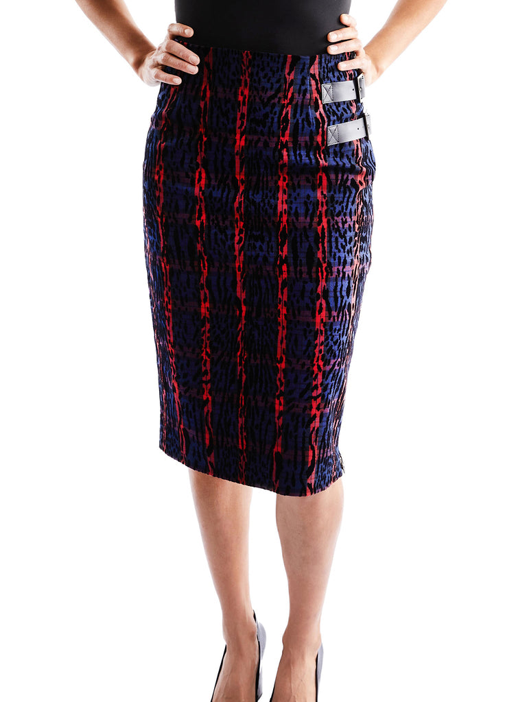 Leopard and Plaid Pencil Skirt