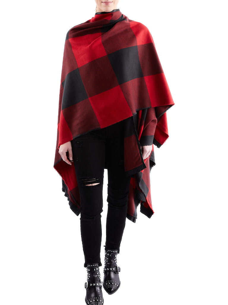 Red and Black Check Shawl