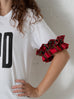 White Logo Tee with Plaid Ruffle