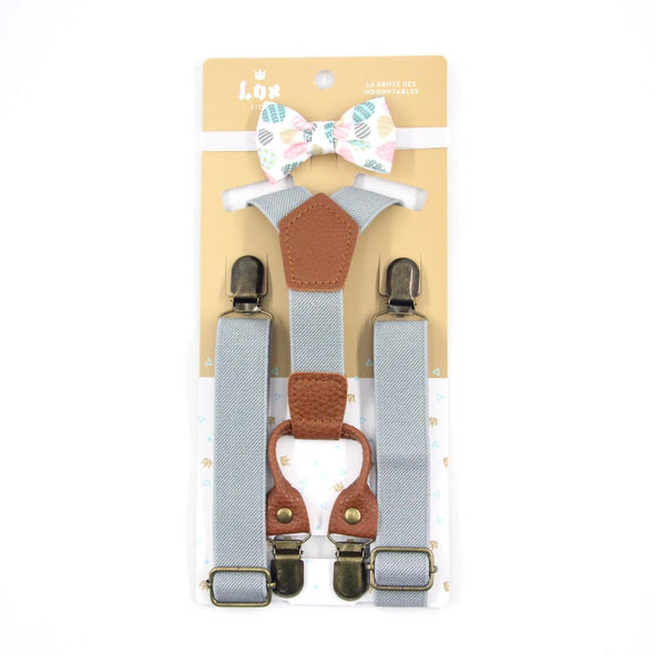 easter bow tie with eggs and grey suspenders