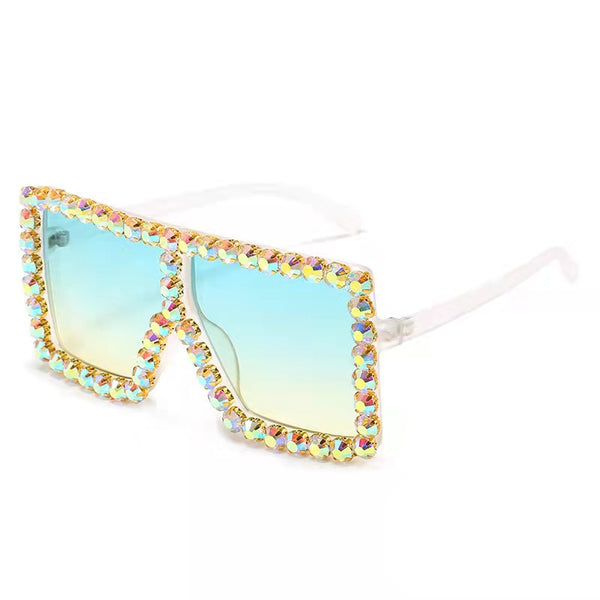 BLING SUNGLASSES - WHITE/AQUA