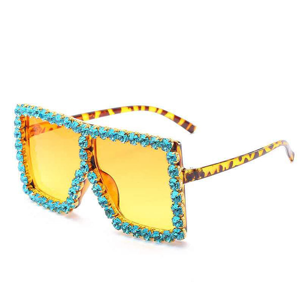 BLING SUNGLASSES - AQUA/YELLOW