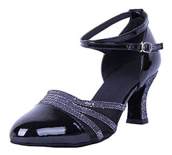 Dance Shoe, Women's Black Ankle Strap Patent Leather
