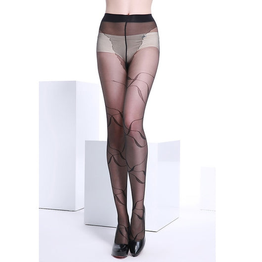 Dance Addicts Sheer Pantyhose With Floral Pattern