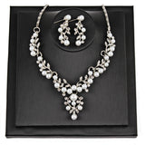 Dance Addicts Pearl Rhinestone Necklace And Earrings Set