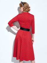 swing dress, vintage-style, red, green or burgandy with black polka dots