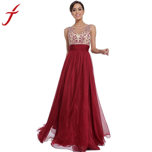 Dance Addicts Red Chiffon Ball Gown with Floral Details