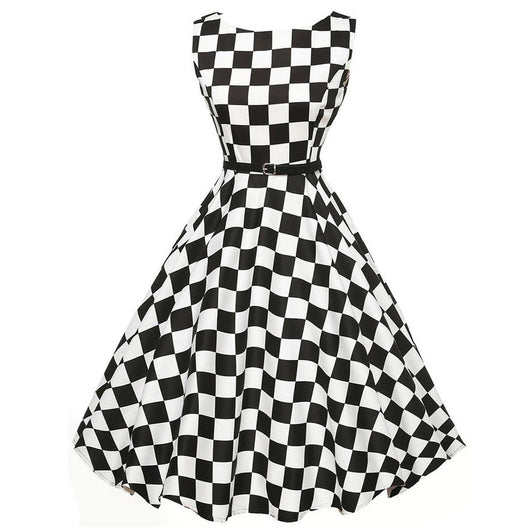 Dance Addicts Vintage-Style Plaid Swing Dress