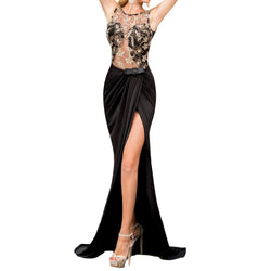black formal gown with sequins