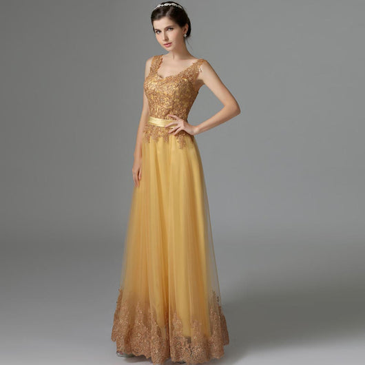 full length, gold embroidered dress, tulle skirt