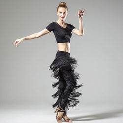 Dance Addicts Latin dance pants with fringe