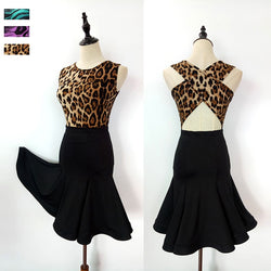 Ladies Sleeveless Latin Dress with Leopard Print