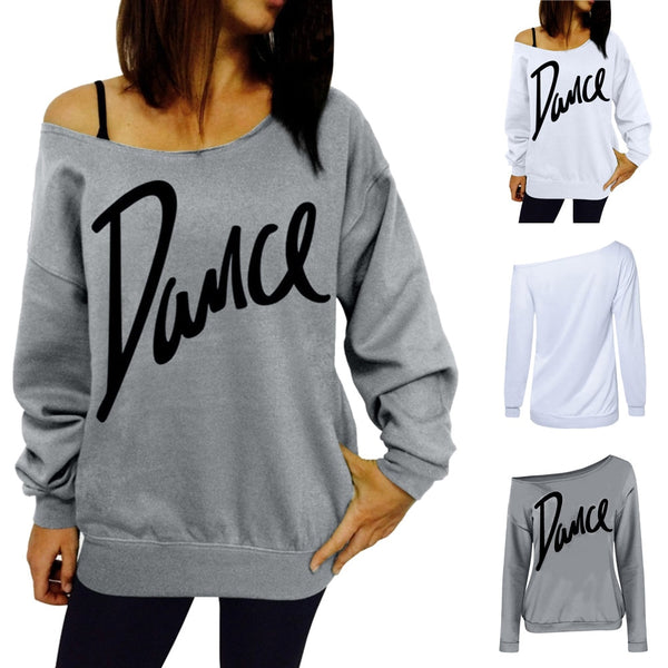 Dance Addicts Off-Shoulder Sweatshirt