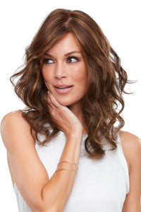 ALEXIS by JON RENAU in 6F27 CARAMEL RIBBON | Dark Brown with Light Red-Gold Blonde Highlights and Tips