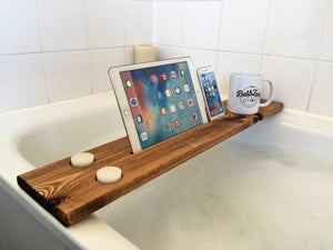 Personalised Engraved Wooden Bath Tray Caddy Dark Oak