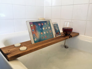 Wooden Bath Tray Caddy Dark Oak
