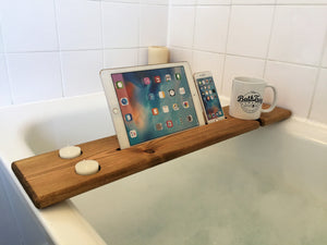 Wooden Bath Tray Caddy Rustic Oak