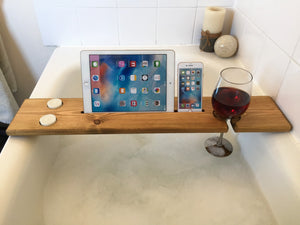 Personalised Engraved Wooden Bath Tray Caddy Rustic Oak