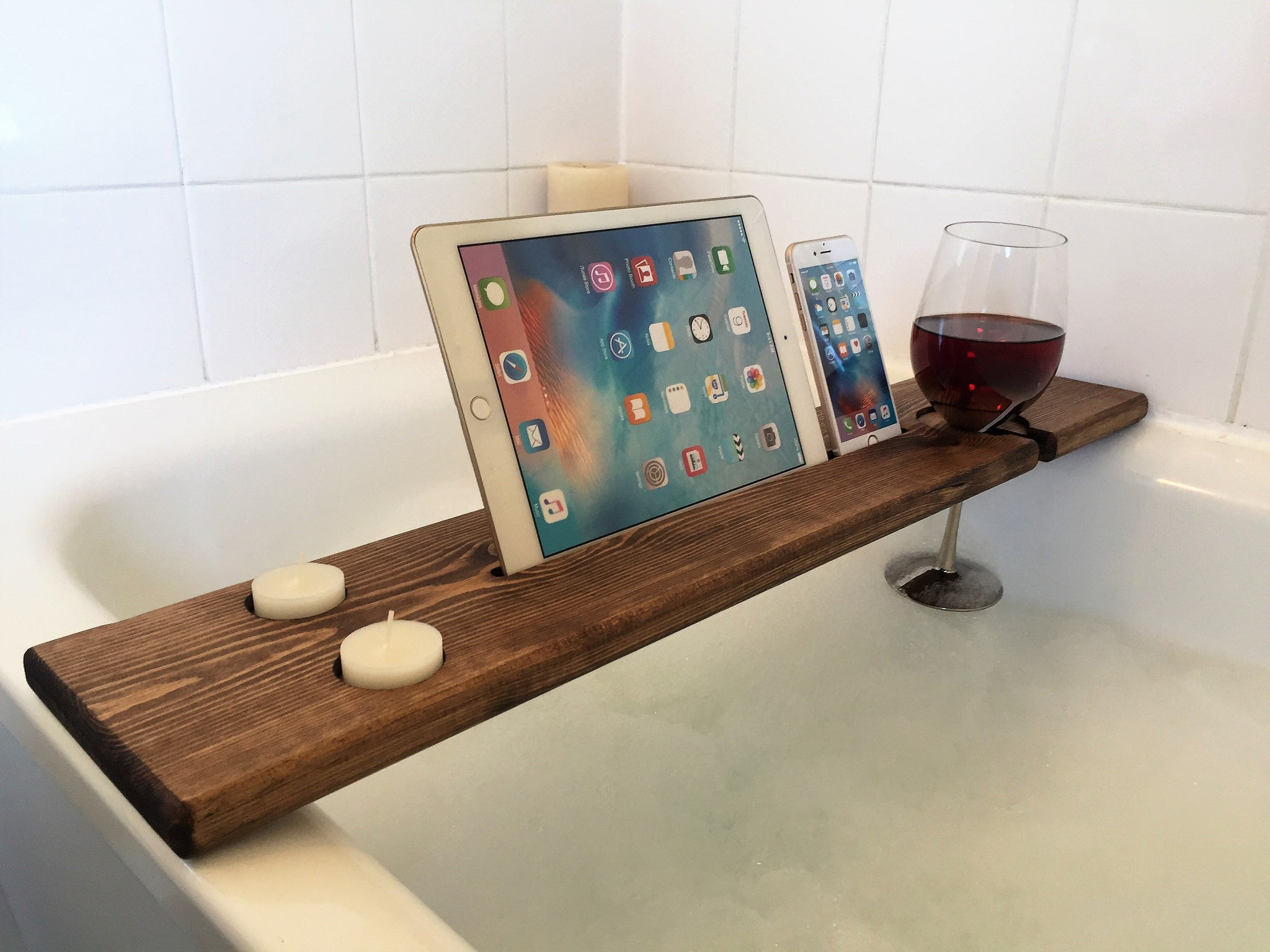 Personalised Engraved Wooden Bath Tray Caddy Tudor Oak – The Bath ...