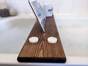 Personalised Engraved Wooden Bath Tray Caddy Tudor Oak